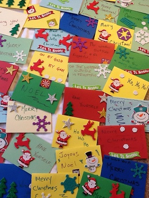 Boy Scouts Make Holiday Cards for Seniors